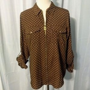 Michael Kors diamond zipper top blouse sz 6 EUC